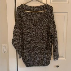Grey and black off the shoulder sweater